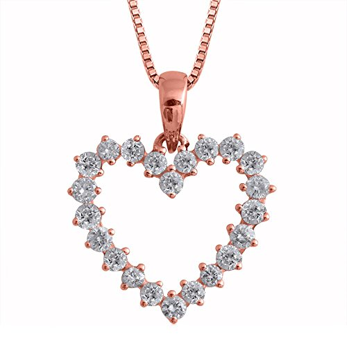 14k Rose Gold Heart Diamond Pendant Necklace (0.45 Carat)