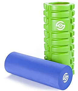 2 in 1 Trigger Point Foam Roller for Muscles - Deep Tissue Massage - Myofascial Release - Great as Yoga Pilates Gym Fitness Post Workout Roller - Muscle Recovery - Massage Therapy for Muscle Soreness