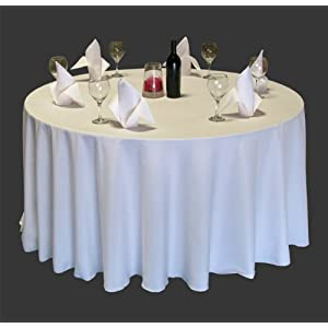 """New Pack of (10) 90"""" White Round Tablecloths Seamless 100% Heavy Woven Polyester"""