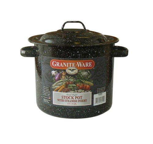 Granite Ware 6209-4 Stock Pot with Steamer Insert, 4-Quart