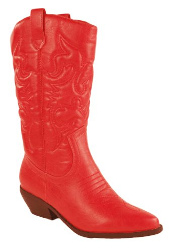 Reno! By Soda Western Cowboy Wing Stitched Boots, Red Leatherette, 8.5 M