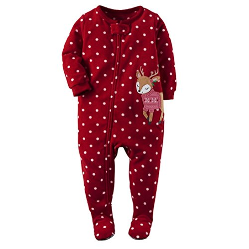 Fheaven Newborn Infant Baby Girl Deer Long Sleeve Romper Jumpsuit Outfits Clothes (18M, Red)