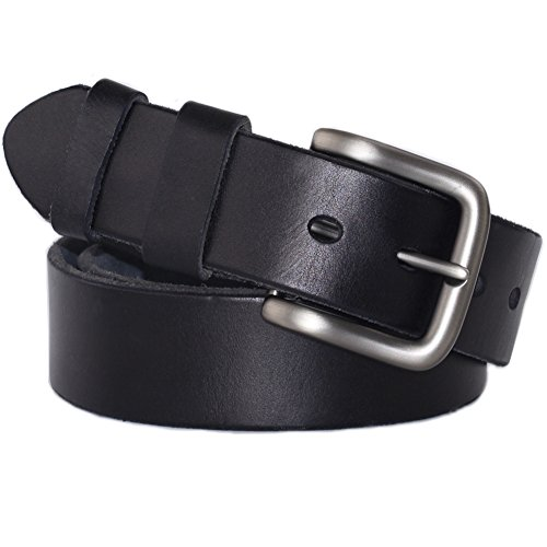 PAZARO Men's Super Soft Top Grain 100% Leather Belt 38mm Wide Black (Jean Belts For Men compare prices)