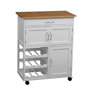 Premier Housewares Kitchen Trolley with Bamboo Top, 84 x 67 x 37 cm, White