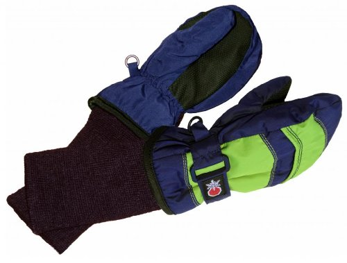 SnowStoppers Kid's Waterproof Stay On Winter Nylon Mittens Small / 1-3 Years Navy Blue / Lime Green