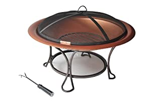 Panama Jack Round Copper Plated Fire Pit, 30-Inch, Black Finish