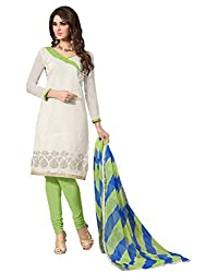 Sitaram womans semistitched cotton embroidery straight cut type dress material.