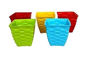 Malhotra Plastic 110003 Plastic Diamond Pot Set (Multicolored, 5-Pieces)