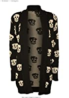 Forever Women's Skull Print Knitted Open Cardigan (ML-10/12, Black)