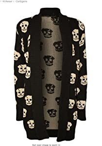 Forever Women's Skull Print Knitted Open Cardigan (XXL-16/18, Black)