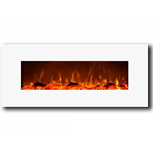 Electric Wall Mounted Fireplace White Heat Realistic Large 50 Inch Flame Ebay