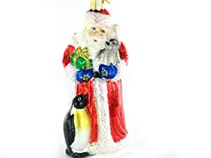 """Old World Christmas Santa with Penguin Pals, 5 """" Glass Ornament"""