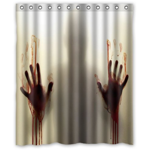 4 must have scary zombie decor items for bathroom for Psycho shower curtain and bath mat