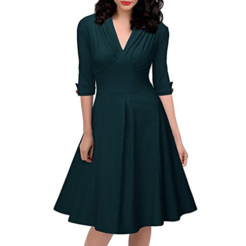monroe-s-sexy-womens-3-4-sleeve-ruched-a-line-swing-evening-party-dress
