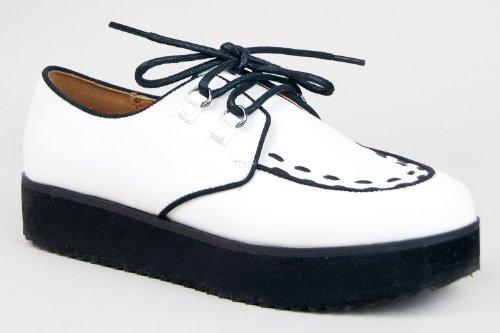 Qupid Tiki-06 Suede Flatfoam Platform Two Tone Lace Creeper Sneaker - White-6