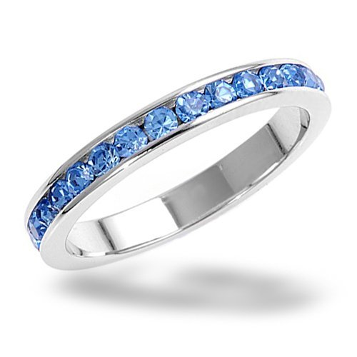 Bling Jewelry Sterling Silver Eternity Band December Birthstone Blue Topaz Color Cz