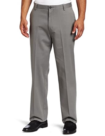 Dockers Men's Stain Defender Khaki D3 Classic Fit Flat Front Pant, Stainless, 30x30