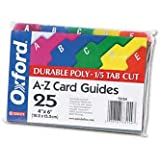 Oxford Card Guides, Alpha, 1/5 Tab, Polypropylene, 5 x 8 Inches, 25 per Set (73155)