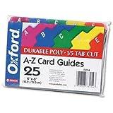 Oxford Card Guides, Alpha, 1/5 Tab, Polypropylene, 5 x 8 Inches, 25 per Set (73155)