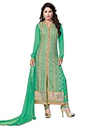 Adorn Fashion Heena Khan Sea Green Georgette Pant Style Long Salwar Suit Material