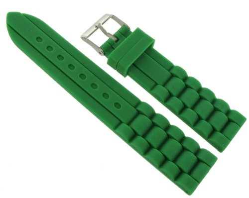22mm Milano Trendy Silicone Green Waterproof Replacement Watch Band Strap