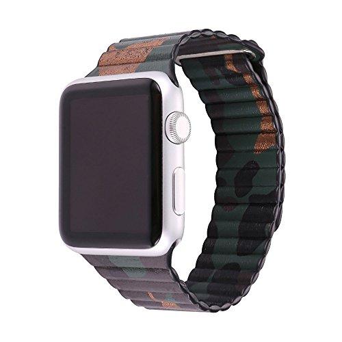 Cinturino Apple Watch 38MM, Bandmax Camuffamento Apple Watch Vera Pelle Loop con Unico Magnete di Blocco Strap Replacement Band per Apple Watch Series 2/ 1 (Camuffamento)