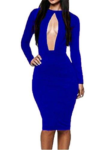 Qiyun Royal Blue Club Sexy Key Hole Long Sleeves Women Bodycon Stretchy Bandage Dress
