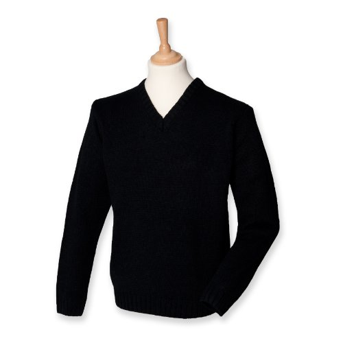 Men's Acrylic V-Neck Jumper Long Seeve Rib Hem Sweater Colors=Black Size=Medium