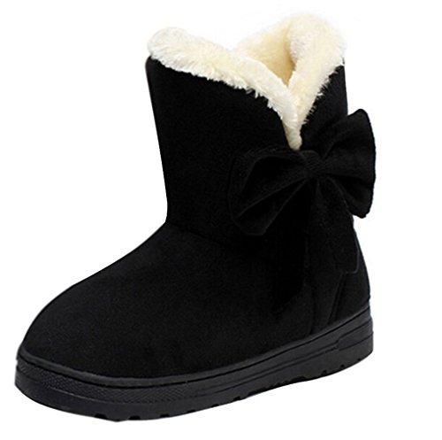 Encounter Damen Schlupfstiefel mit Schleife Winterstiefel Warm Winter Boots Klassisch Schneestiefel
