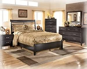 Ashley Kira Contemporary King Size Bedroom Set In Black Finish K