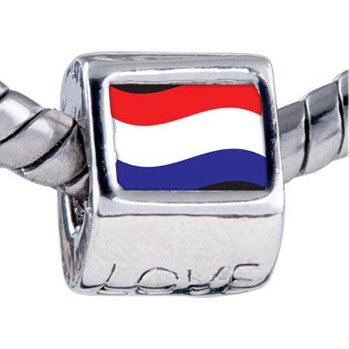 Pugster Bead Netherlands Flag Beads Fits Pandora Bracelet