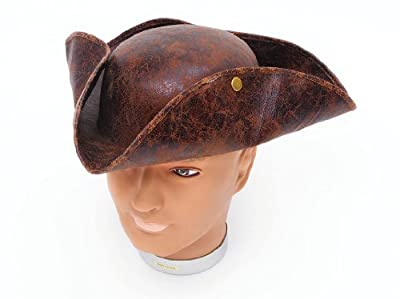 Adults Ancient Rustic Look Brown Pirate Captain Tricorn Fancy Dress Costume Hat