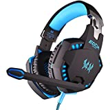 AFUNTA 2014 EACH G2100 Stereo 3.5mm Plug + USB Plug Led Power Supply Vibration Function Professional Gaming Headphone Games Headset with Mic Stereo Bass LED Light for PC Gamers PC Games - Black+Blue