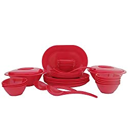 Incrizma Plastic Round Plate and Bowl Set, 32-Pieces, Red