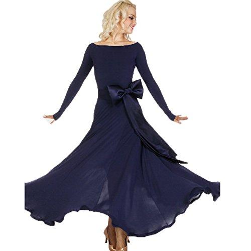 FERE8890 Women's Dancewear Competition Dancing Latin Practice Long Floor Bowknot Dress Dark blue S (Dance Worship Costumes)