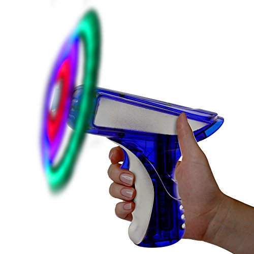 "LED Light Up Blue and Silver LED Spinning 6"" Toy Gun for Kids"