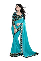JMT Women's Georgette Saree ( JMT107 _ Blue )