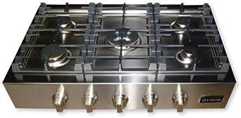"""Verona VECTGP365SS 36"""" Stainless Steel Gas Sealed Burner Cooktop"""