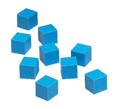 School Smart 084948 Base 10 Components Plastic Units, 1 cm x 1 cm x 1 cm, Blue (Pack of 100) - 1