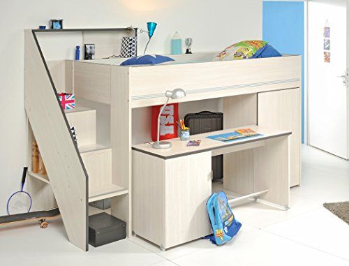 hochbett grace 1 esche nb 242x171x111 cm schreibtisch kleiderschrank kinderzimmer jugendzimmer. Black Bedroom Furniture Sets. Home Design Ideas