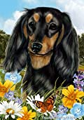 Dachshund Black/Tan Longhair Dog - Tamara Burnett Summer Flowers House Dog Breed Flag 28'' x 40''