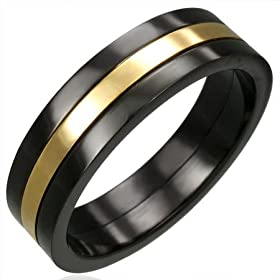  Gents Black Stainless Steel Gold Band Ring, 6mm Wide - Size U 
