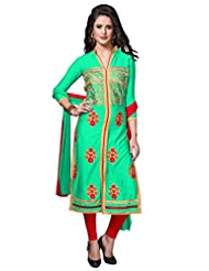 Women's Turquoise & Red Embroidered Cotton Semi Stitched Salwar Suit