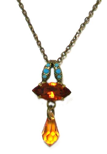 Mariana Spirit of Design Antique Gold Plated East/West Marquise Swarovski Crystals Pendant Necklace in Aqua/Champagne