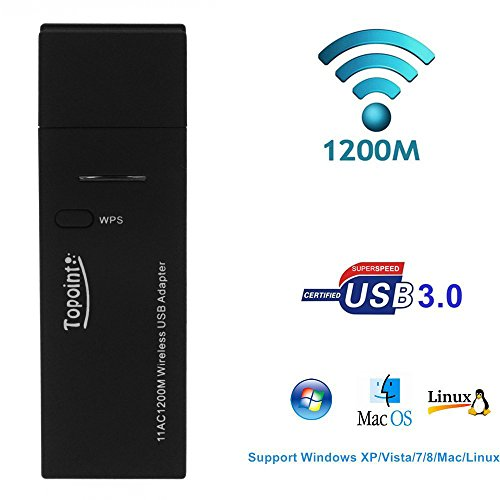 AC1200 Wireless USB3.0 WiFi Adapter Dual Band 5.8GHz/2.4GHz(867Mbps/300Mbps), Topoint Wireless Network Card Adaptor for Desktop PC Laptop Computer for Windows XP/7/8/10/Vista(32/64bits)/Mac OS/Linux (Desktop Wireless Card Windows 8 compare prices)