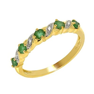 Yellow 18ct Gold 0.44ct Emerald & Diamond Half Eternity Ring