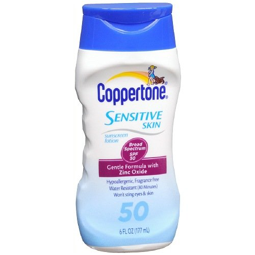 Coppertone Sunscreen Lotion, Sensitive Skin, 50 SPF, 6 oz.