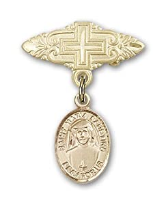 Gold Filled Baby Badge with St. Maria Faustina Charm and Badge Pin with Cross