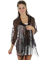 Sheer Peacock & Heart Sequin Fringed Evening Wrap Shawl for Prom Wedding Formal