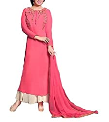A R Fashion Hub Women's Georgette Unstitched Dress Material(6004 Designer_Pink_FreeSize)